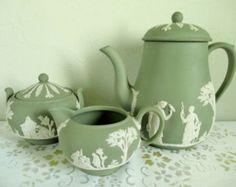 Wedgwood; Vintage Wedgwood, Jasperware, Sage Green Jasperware, Coffee Service, Tea Set, Vintage Tea Set, 1970 $175.00