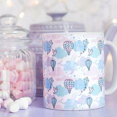 Pastel Pattern Mug - Every Cloud Collection - Cute Hot Air Balloon Design