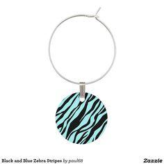 Black and Blue Zebra Stripes Wine Charms