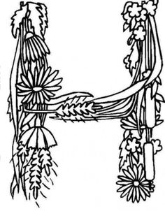 Alphabet Flower Ribbon Idea In Letter H Coloring Pages