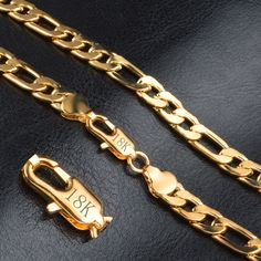 ER 8mm Gold Figaro Chain Necklace Sport Male Real Gold Plated GP Stainless Steel Chains Neckless Mens Jewelry RN020
