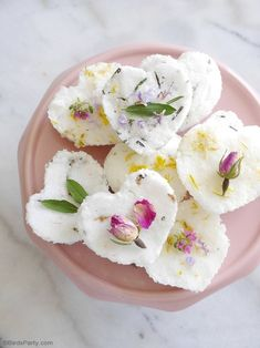 DIY Scented Bath Bombs - made with natural ingredients. A fun activity for bridal showers, spa party favors, handmade Mother's Day or teacher gifts!