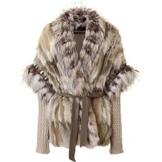 ROBERTO CAVALLI Natural Fur and Knit Combo Jacket (£3,560) ❤ liked on Polyvore featuring outerwear, jackets, coats, fur, brown jacket, dolman jacket, studded jacket, knit jacket and roberto cavalli jacket