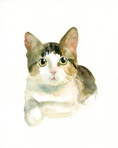 CUSTOM PET PORTRAIT  Original watercolor painting 8X10inch. $38.00, via Etsy.