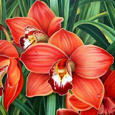 Orange Orchids by Ora Sorensen