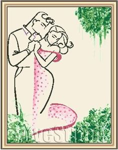 Schematic cross stitch Couple Rosa 1