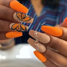 We have collected 130 + elegant Rhinestones coffin nails for you. Enjoy these beautiful nail art and welcome your Inspiration erupted! Blue Nail, Nail Art Orange, Neon Orange Nails, Orange Acrylic Nails, Bright Summer Acrylic Nails, Orange Nail Designs, Cute Acrylic Nail Designs, Neon Nails, Yellow Nails