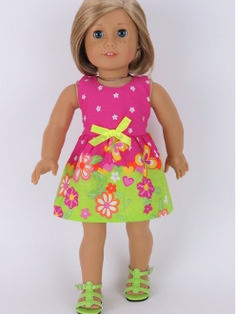 "18"" DOLL CLOTHES lime green hot pink doll dress for 18"" dolls"