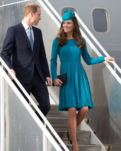 "(@katemiddletonphoto) on IG: ""On 13th April 2014, William & Catherine landed in Dunedin, New Zealand. Catherine wore a blue 'Emilia Wickstead' dress. This is one of my favourite dresses of her, I wish I had it in my closet""  