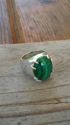 Sterling silver malachite ring 925 sterling silver jewelry size 8 Thailand EA436 - pinned by pin4etsy.com