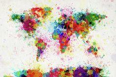 World Map Paint Drop Fine Art Print - Michael Tompsett.
