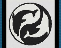 Black and White Yin Yang Dolphins Cross Stitch Pattern