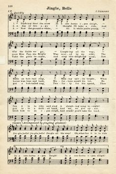 Vintage Christmas Sheet Music Graphic ~ Jingle Bells | Old ...