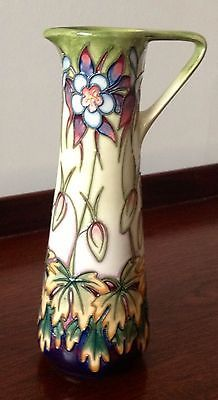 MOORCROFT LIMITED EDITION POTTERY EWER HAND PAINTED AQUILEGIA PATTERN 9.25inches