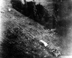 Aerial view of German equipment destroyed during the battle of the Chambois pocket. Trucks two top (mark?) At the bottom right a tank Panzer IV this picture is part of a sierrs of 18 shots (p011194 to p011211), poor quality, aerial photos taken at low altitude, August 22, 1944, over the region of Chambois.