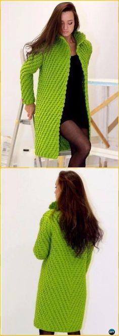 Crochet Ribbed Sweater Cardigan Free Pattern - Crochet Women Sweater Coat & Cardigan Free Patterns