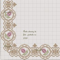 This Pin was discovered by Nez Cross Stitch Rose, Cross Stitch Borders, Cross Stitch Flowers, Cross Stitch Embroidery, Cross Stitch Patterns, Hand Embroidery Designs, Embroidery Patterns, Pattern Coloring Pages, Free Knitting