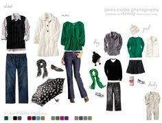 Family session - outfit idea for fall/winter (layered clothing, accessories, pop of emerald green) ... additional color palettes also shown ...
