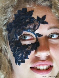 Lace Mask Tattoo Halloween Masquerade - Blue Pink White Black - Adheres to Skin. $25.00, via Etsy.