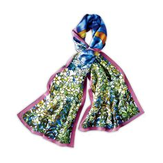 This elegant silk scarf is based on the Field of Lilies leaded-glass mosaic window by Louis Comfort Tiffany.