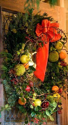 pear, orange, and cranberry evergreen wreath...