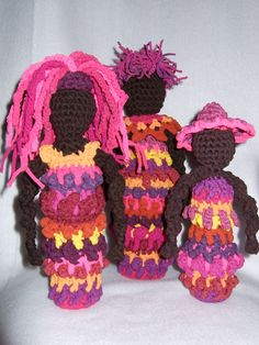 Hosiery Dolls, freeform crochet, upcycled hosiery yarn