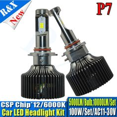 61.19$  Watch now - Pair 10000lm Car LED Headlights HB3/9005 Auto Front Bulb 100W Automobiles Headlamp Xenon White 6000K With P7 CSP chip  #aliexpress