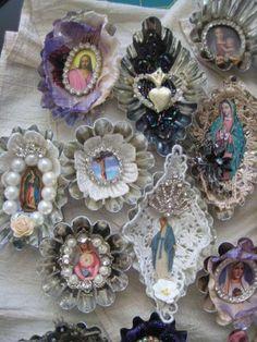 Religious mixed media tart tins