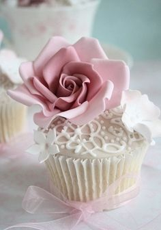 Pretty floral wedding or special occasion cupcake