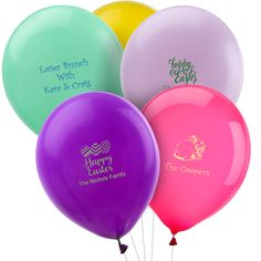 "Personalized latex balloons add fun and style to your party. Free online preview. Choice of 15 balloon colors, 25+ imprint colors and . Second side imprint available. Inflated balloons are approximately 12"". Made and printed in the USA."