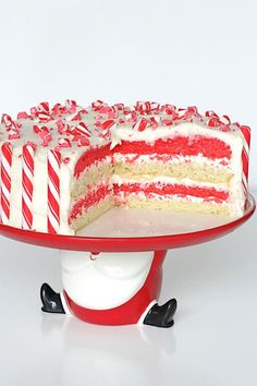 Candy Cane Cake...with a peppermint marshmallow buttercream frosting!