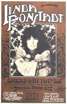 Linda Ronstadt 1974 San Clemente Tour Posters, Band Posters, Music Posters, Vintage Rock, Vintage Music, Vintage Concert Posters, Vintage Posters, Mona Lisa, Linda Ronstadt