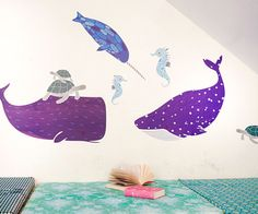 Sea Creatures Wall Decals. Easy to use: just peel & stick reusable decals! ***Shipping Info: Please note this item is made to order and takes 5-10 business days to ship. Tracking will be sent out as soon as the product ships.*** 100% eco-friendly!100% safe for kids!100% made in the USA!  In partnership with this fantastical designer, we bring you this special collectors edition from the very popular Land of Nod Designer, Gingiber Sea Creatures in Color by Stacie...