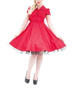 Love this HEARTS & ROSES LONDON Red & Black Small Dot Shirt Dress - Plus Too by HEARTS & ROSES LONDON on #zulily! #zulilyfinds