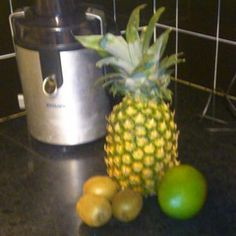 Pineapple and Mango Delight healthy juicing recipe that me and Emily make together.