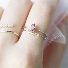 10K Pink Tourmaline & Diamon Ring