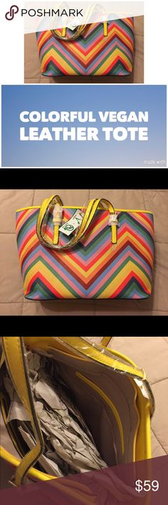 """Colorful Chevron Vegan Leather Tote This is for a colorful chevron Vegan Leather Tote.  NWT Measures 18"""" Wide by 10"""" inches tall Bags Totes"""