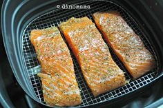 Airfried Salmon Steak, Philips style. I also crisp the skin separately to serve on top.