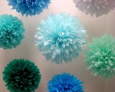 Wedding style board - paper flower poms, really different and cute