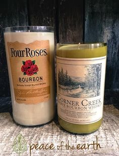 These #recycled #FourRoses and #CornerCreek bourbon bottle #candles make for a great gift for Dad. #PeaceOfTheEarth