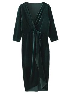Asymmetric Velvet Midi Wrap Dress - BLACKISH GREEN M