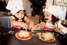 """This """"Little Chefs"""" Birthday Pizza Party from Sugar Branch Events makes cooking fun, with personalized aprons and authentic chef hats. Birthday Pizza, Birthday Parties, Ben 10, Diner Restaurant, Chef Party, Personalized Aprons, American Diner, Little Chef, Pizza Party"""