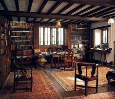 Rudyard Kipling 's study library, century, Bateman's House in Sussex… Beautiful Library, Home Libraries, Basement Bedrooms, Modern Basement, Man Room, If Rudyard Kipling, Study Office, Library Study Room, Study Rooms