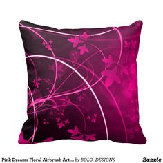 Pink Dreams Floral Airbrush Art Throw Pillow