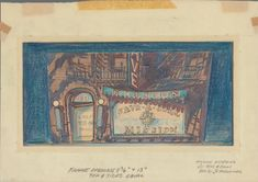 """Guys and Dolls, """"Save a Soul Mission"""" exterior - NYPL Digital Collections Theatre Design, Stage Design, Guys And Dolls Musical, Scenic Design, New York Public Library, Art And Architecture, Line Drawing, Golden Age, Pencil Drawings"""