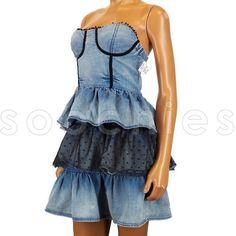AK80 Next Era Couture Polkadot Tulle Acid Wash Denim Jean Bustier Dress Sexy | eBay