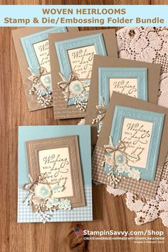 <br> The Woven Heirlooms Bundle features a stamp set and die/embossing folder duo that creates ornate frames for your handmade paper-crafting projects❤️ Embossed Cards, Stamping Up Cards, Pretty Cards, Card Sketches, Paper Cards, Flower Cards, Creative Cards, Anniversary Cards, Greeting Cards Handmade