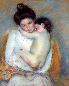 """Mary Cassat    """"Mather and child"""" 1900 circa, Drawing - pastel, The Art Institute of Chicago (United States)."""