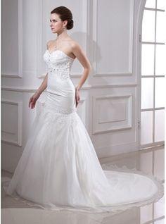 Trumpet/Mermaid Sweetheart Chapel Train Organza Satin Wedding Dress With Ruffle Lace Beading (002000325) - JJsHouse