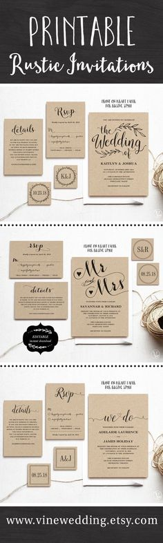 Beautiful rustic wedding invitations. Editable instant download templates you ca...